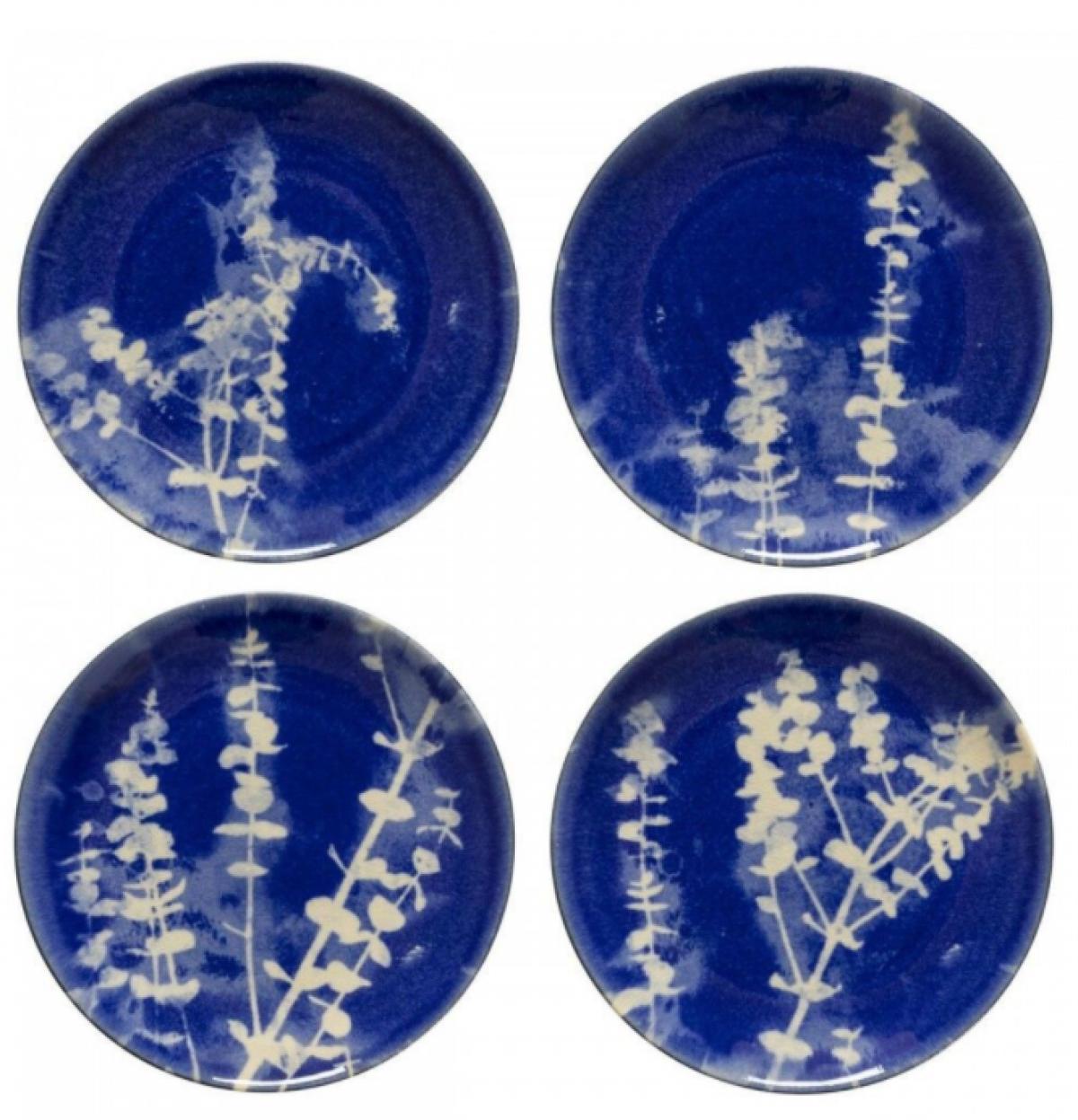 Assiettes ceramique bleu